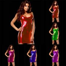 VARIOUS Sexy Figure Hugging Lame Metallic Pu Mini Dress - Clubbing Party Dresses