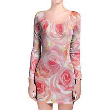 Watercolor Roses Longsleeve Bodycon Dress XS-3XL All-Over-Print