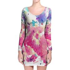 Watercolor Art Longsleeve Bodycon Dress XS-3XL All-Over-Print