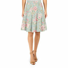 Pastel Floral Wallpaper A-Line Skirt Sizes XS-3XL Flared Skirt