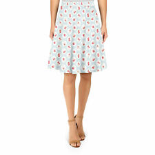 Shabby Chic Florals on Blue A-Line Skirt Sizes XS-3XL Flared Skirt