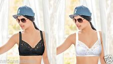 2pc Enamor Wirefree High Coverage Non Padded Everyday Wear Lacy Bra -Cotton-V015