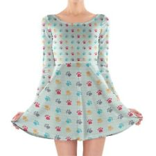 Paw Prints Longsleeve Skater Dress XS-3XL All-Over-Print