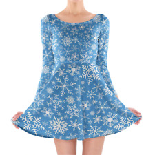 Snow Flakes Longsleeve Skater Dress XS-3XL All-Over-Print