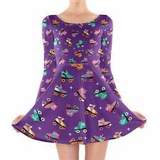 Rollerskate Disco Longsleeve Skater Dress XS-3XL All-Over-Print