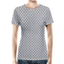 Mini Hearts on Grey Women Cotton Blend T-Shirt All-Over-Print