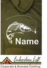 PERSONALISED CARP FISHING HOODIE WITH CARP & NAME PRINTED ON THE BACK**.