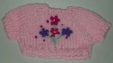 Pastel pink & Flowers Small Knit Teddy Bear / doll Sweater Clothing Clothes