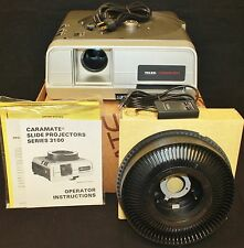 VINTAGE NEW TELEX CARAMATE 3100 3170 35MM SLIDE CAROUSEL PROJECTOR W REMOTE NIB