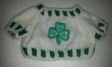 Green Clover Applique LARGE Knit Teddy Bear / doll Sweater Clothing Clothes