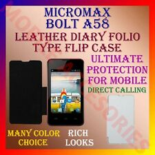 ACM-LEATHER DIARY FOLIO FLIP FLAP CASE for MICROMAX BOLT A58 FRONT/BACK COVER