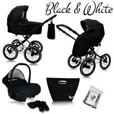 B&W PRAM PUSHCHAIR BUGGY CAR SEAT TRAVEL SYSTEM ISOFIX black & white chassis !!!
