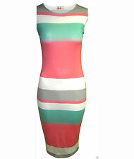 WOMENS NEW LADIES CELEB KIM KARDASHIAN SAM FAIERS STRIPE  BODYCON MIDI DRESS TOP