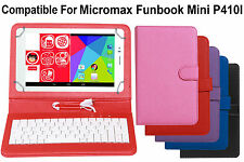 Leather Finished Keyboard Tablet Flip Cover For Micromax Funbook Mini P410I