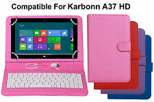 Premium Leather Finished Keyboard Tablet Flip Cover For Karbonn A37 HD