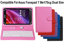 Leather Finished Keyboard Tablet Flip Cover For Asus Fonepad 7 Me175CG Dual Sim