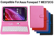 Leather Finished USB Keyboard Tablet Flip Cover For Asus Fonepad 7 ME372CG