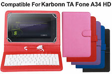 Leather Finished Keyboard Tablet Flip Cover For Karbonn TA Fone A37 HD Dual Sim