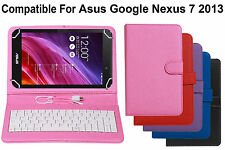 Leather Finished USB Keyboard Tablet Flip Cover For Asus Google Nexus 7 2013