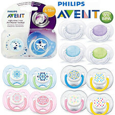 2 x Philips Avent Orthodontic Baby Pacifier Soother Dummies Translucent Silicone