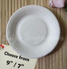 """Disposable White Paper Plates 18cm / 23cm 7"""" 9"""" Pack of 30 60 100 200 Party Food"""