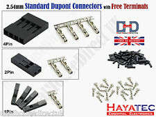5 10 25 2.54mm Pitch 1 2 4 Pin Dupont Housing Female Free Terminal Connectors UK