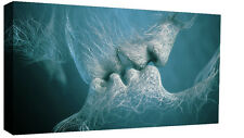 Duck Egg Blue Love Kiss Abstract Art on CANVAS WALL ART Picture Print