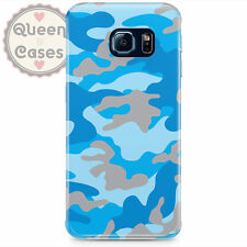 Camouflage Bright Blue Phone Case for Samsung fits Samsung Galaxy S6 Edge S5 S4