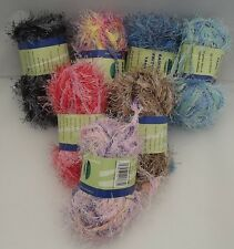 Eyelash Rainbow - Knitting Wool / Yarn Wide Variety Of Colours Blue Pink Brown