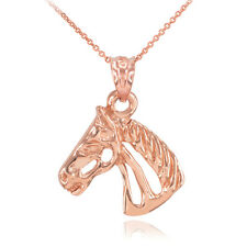 10k Fine Rose Gold Good Lucky Horse Head Pendant Necklace