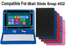 Premium Leather Finished Keyboard Tablet Flip Cover For IBall Slide Snap 4G2