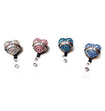 Rhinestone Crystal reel retractable ID badge holder - Nurse Heart