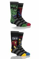 Kids 4 Pair SockShop Marvel Comics Mix Hulk, Spider-Man, Iron Man & Wolverine So