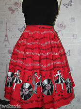 Banned EMPOWER Jive Swing Vintage 50's Red Rock & Roll Couples Skirt Size 8 - 16