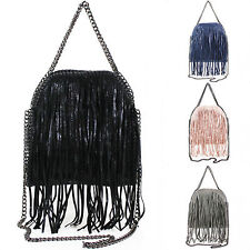 Ladies Small Chain Fringed Tote Bag Women Tassle Bag with Chain Shoulder Strap