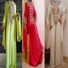 Women DUBAI ABAYA KHALEEJI, 2 LAYER MAXI DRESS GALABEYA COSTUME THOB GOWN,