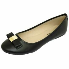 LADIES FLAT BLACK SLIP-ON WORK SCHOOL DOLLY BALLERINA BALLET PUMPS SHOES UK 3-8