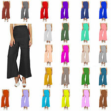 New Women Ladies Palazzo Plain Flared Wide Leg Pants leggings Baggy Trousers