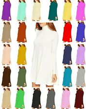 Womens Ladies Polo Neck High Turtle Neck Long Sleeve Flared Swing Skater Dress
