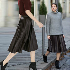 ZARA Woman Authentic BNWT Dark Burgundy Pleated Midi Skirt Faux Leather 2969/255
