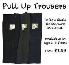 Boys Pull On School Trousers Pull up Black Grey Navy Age 2 - 13 Elasticated