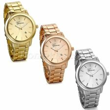 Men's Women's Simple Stainless Steel Scale Wrist Watch Watches With Date Display