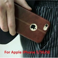 """Vorson® For """"Apple iPhone 5/5S/SE"""" Double Stitch Leather Shell Back Case Cover"""