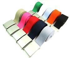 NEW MENS LADIES HIGH QUALITY COTTON PLAIN WEBBING CANVAS BELT SILVER BUCKLE 38""