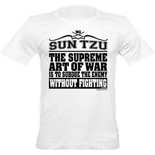 Urban Shaolin Men's Sun Tzu Supreme Art of War Quote Fitted T Shirt, White