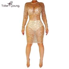 New Luxury Shiny Sequins Sexy See Thru Bodycon Cocktail Evening Club Party Dress