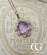 Vintage Inspired 9ct Rose Gold, Amethyst & Pearl Pendant Necklace