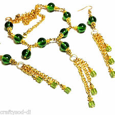 Lovely Green Glass Bead Chandelier Choker Necklace & Earring Set Ideal For Prom