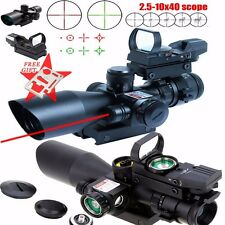 New Tactical 2.5-10X40 Rifle Scope Red Laser&Holographic Green laser Dot Sight