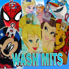 KIDS WASH MITT BATH FACE FLANNEL CLOTH DISNEY PRINCESS FROZEN MICKEY SPIDER-MAN
